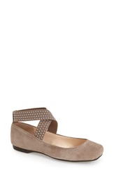 Jessica Simpson 'Marin' Ankle Strap Ballet Flat Women Slater Taupe Suede