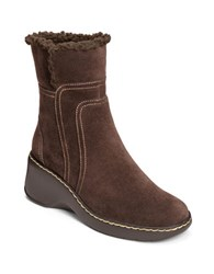 Aerosoles Side Kick Fleece Trim Suede Boots Dark Brown