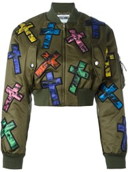 Moschino Cross Patch Cropped Bomber Jacket Green