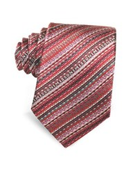 Missoni Diagonal Stripe And Signature Woven Silk Narrow Tie Red Grey