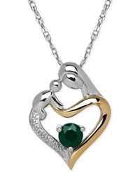 Macy's Emerald 1 3 Ct. T.W. And Diamond Accent Mother And Child Pendant Necklace In Sterling Silver And 14K Gold