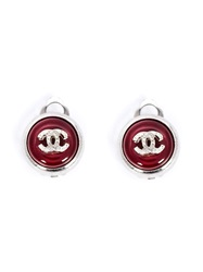 Chanel Vintage Circle Stone Earrings Red