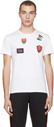 Alexander Mcqueen White Badges And Butterfly T Shirt