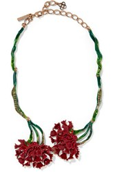 Oscar De La Renta Enameled Gold Tone Crystal Necklace Red