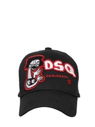 Dsquared Dsq Logo Cotton And Mesh Trucker Hat Black