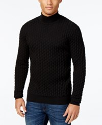 Sean John Men's Textured Mock Turtleneck Sweater Black