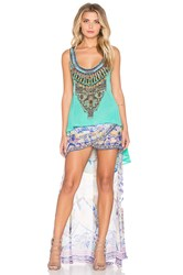 Camilla Long Back Scoop Neck Tank Green