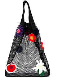 Christopher Kane Crochet Flower Mesh Shopper Black