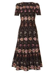Givenchy Floral Embroidered Short Sleeved Midi Dress Black Multi