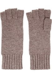N.Peal Cashmere Fingerless Cashmere Gloves Brown
