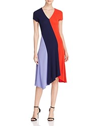 Tory Burch Walden Asymmetric Color Block Dress Royal Navy Red Canyon Dusk Sky