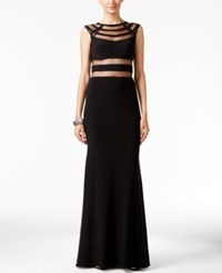 Betsy And Adam Cutout Illusion Gown Black