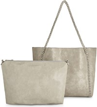 Aldo Butternut Textured Leather Tote Grey