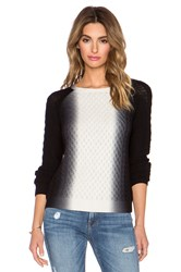 Vince Vertical Dip Dye Cable Sweater Black And White