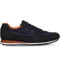 Car Shoe Nylon Runner Trainers Blk Blue