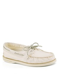 Sperry Flat Lace Up Boat Shoes A O Washed Ivory