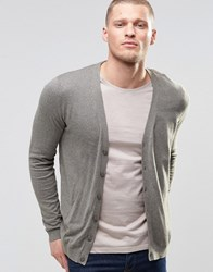 Asos Cardigan In Grey Cotton Slate Moss
