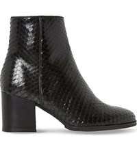 Dune Pitche Leather Ankle Boots Black Reptile