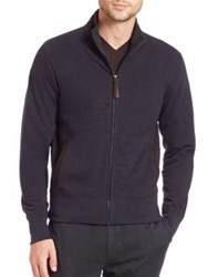 Billy Reid Suede Trim Track Jacket Navy