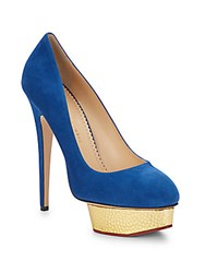 Charlotte Olympia Dolly Suede And Embossed Metallic Leather Platform Pumps Navy
