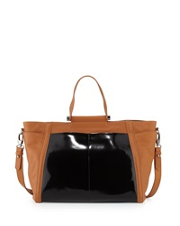 Charles Jourdan Rafa Contrast Leather Tote Bag Tan Black