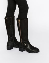 Ravel Biker Chunky Leather Knee Boots Black