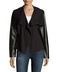 Neiman Marcus Draped Faux Leather Knit Jacket Black