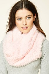 Forever 21 Faux Shearling Infinity Scarf Light Pink