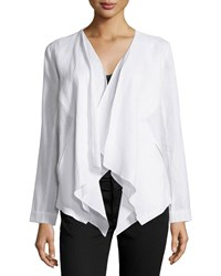 Neiman Marcus Linen Draped Open Jacket White