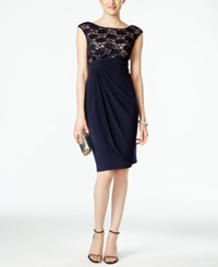Connected Sequin Lace Faux Wrap Cocktail Dress Navy Nude