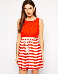 Club L Nautical Stripe Dress With Rope Belt Redstripe