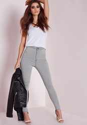 Missguided High Waisted Skinny Jeans Light Grey Grey