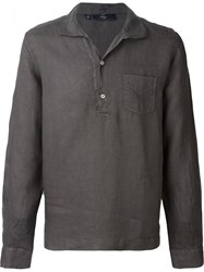 Fay Washed Long Sleeve Polo Shirt Brown