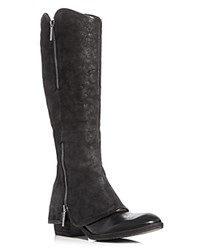 Donald J Pliner Devi Zipper Leather Overlay Tall Boots Black