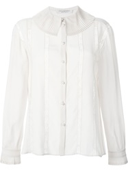 Philosophy Pleated Collar Lace Details Blouse Nude And Neutrals