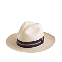 J.Crew Paulmann Panama Hat With Chambray Band Navy Red