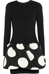 Boutique Moschino Polka Dot Faille And Knitted Mini Dress Black