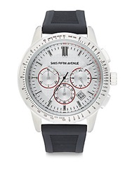 Saks Fifth Avenue Stainless Steel Chronograph Strap Watch Silver