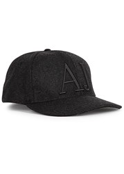 Armani Jeans Charcoal Logo Embroidered Wool Felt Cap Grey