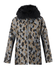 Moncler Gamme Rouge Camo Jacquard Fur Trim Down Coat