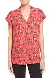 Pleione Petite Women's High Low V Neck Mixed Media Top Coral Navy Floral