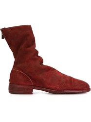 Guidi Back Zip Boots Red