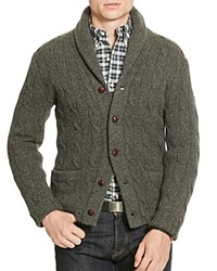 Polo Ralph Lauren Merino Wool Shawl Collar Cardigan Sweater Grey Heather