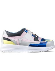 Six Lee X Aqua Two Grey Patch Platform Sneakers