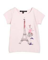 Lili Gaufrette Short Sleeve Eiffel Tower Tee Light Pink