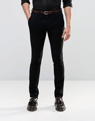Asos Super Skinny Smart Trousers In Jersey With Satin Panel Black