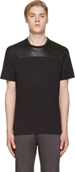 Neil Barrett Black Leather Panel T Shirt