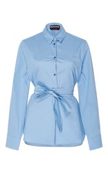 Rochas Silk Button Up Shirt With Sash Light Blue