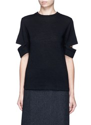 Song For The Mute Split Sleeve Wool Knit T Shirt Black