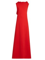 Osman Dessie Ruffled Crepe Gown Red